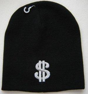 Black Dollar Sign Beanie Ski Hat