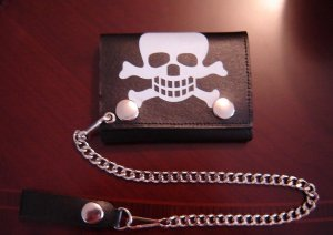 Black Leather Skull Tri Fold Chain Wallet