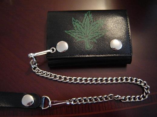 Black Leather 'Marijuana Leaf' Tri Fold Chain Wallet