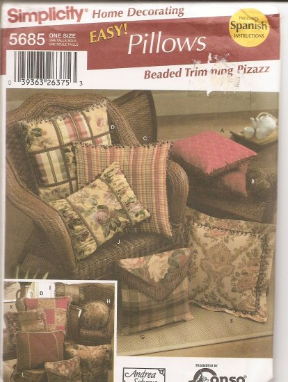Simplicity 5686 Pillows Uncut