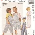 McCalls 6616 Children's Overalls in Two Lengths size 2 3 4 Uncut