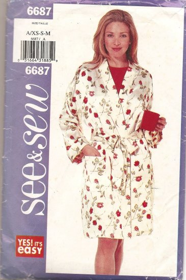 Butterick 6687 Misses Robe, Top and Shorts size XS, S, M Uncut
