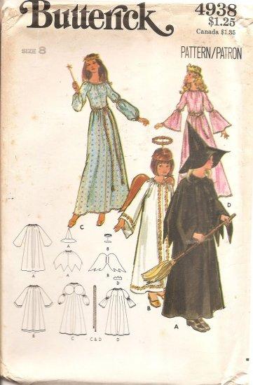 Vintage Butterick 4938 Misses Costumes Witch, Angel, Fairy, Princess size 8 Uncut