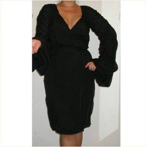 Escada $2,750 couture ruched black silk dress, 36