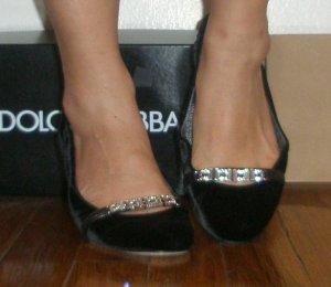 Dolce & Gabbana $680 blackvelvet rhinestone ballet flat
