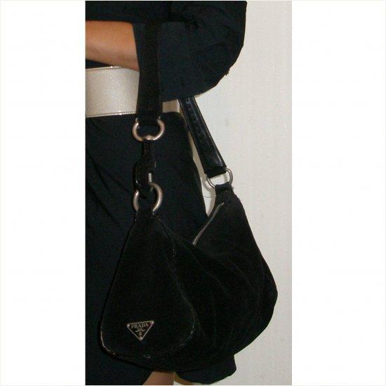 Prada classic black suede shoulder bag with authenticity card