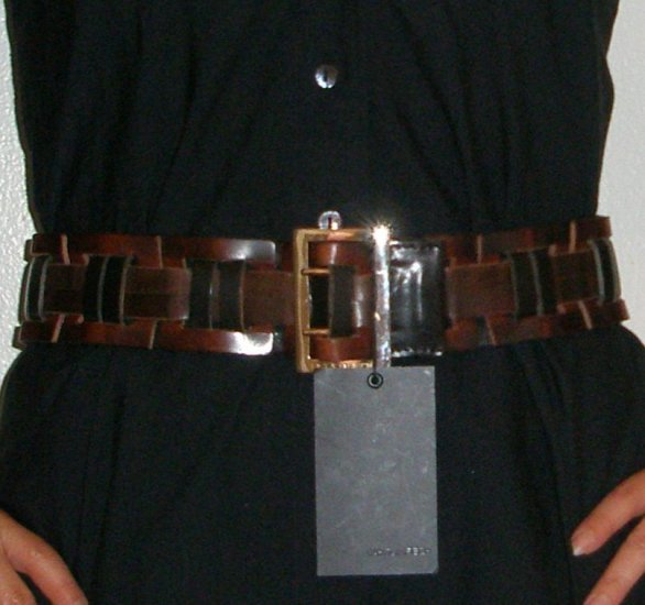 $495 D Squared woven leather double prong brown belt, 2