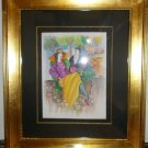 Itzchak Tarkay signed original watercolor of Man and Woman at Cafe