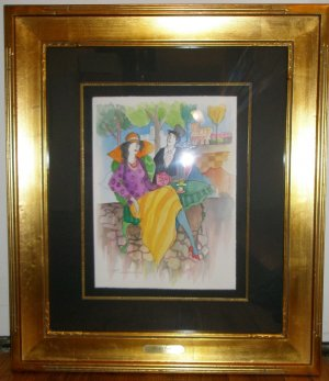 Itzchak Tarkay signed original watercolor of Man and Woman at Cafe