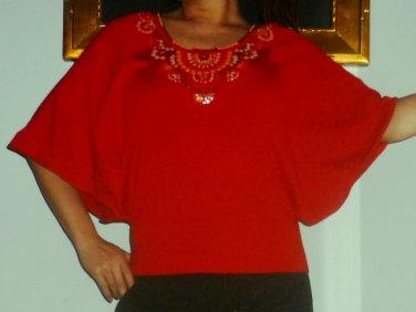 $1150 New with Tags Escada kimono sleeve beaded top