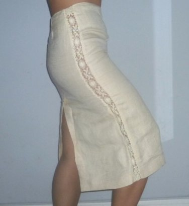$540 New with Tags Jean Paul Gaultier crochet and linen skirt