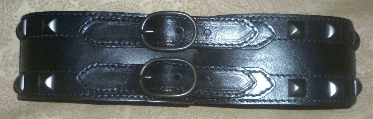 Linea Pelle Amazing double buckle belt with studs
