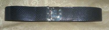 Michael - Michael Kors snakeskin print black leather belt