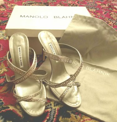 $995 New in box Manolo Blahnik rhinestone strappy sandals