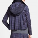 Tory Burch 'Lane' Print Back Pleated Hooded Jacket