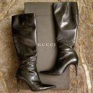 Authentic Gucci black stiletto black leather knee boots