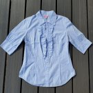 Lilly Pulitzer ruffle-front button-down striped top
