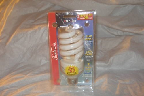 Sunbeam 24W = 100W CFL lot of 20 light bulbs