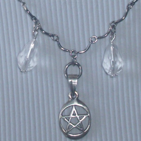 925 Silver Pentacle Scalloped Chain Wiccan Necklace Nomadic