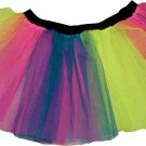 Neon Multi rainbow tutu skirt dance club disco punk rave emo cyber