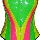 Neon Rainbow multi Heart shape corset BASQUE PVC RAVE cyber dance club disco party fashion