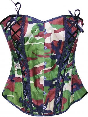 Camouflage Army CORSET BASQUE HEAVY LACING STEEL BONED