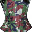 Camouflage Army CORSET BASQUE HEAVY LACING STEEL BONED  basic