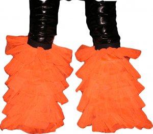 Fluffy ORANGE Neon UV tutu Leg warmers Boot Cover danc