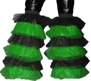 Fluffy typ Leg warmers Boot Cover Rave dance party clubwear Neon Green Black