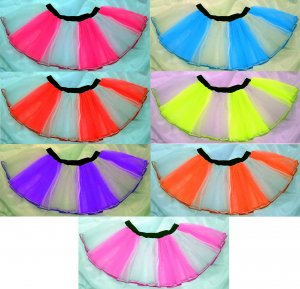 neon tutu skirt rave punk cyber hen party dance fancy costume dress red white hot pink yellow blue