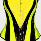 Neon Yellow Black corset BASQUE PVC Gothic Fetish Rave