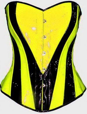 Neon Yellow Black corset BASQUE PVC Gothic Fetish Rave