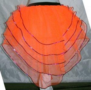 Tutu Skirt Peacock petticoat sequins Neon UV Orange Punk cyber rave Halloween