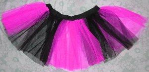 Christmas Xmas UV NEON Hot pink Black Striped TUTU SKIRT Punk Cyber Rave dance club disco party