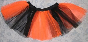 Christmas Xmas Tutu skirt NEON UV ORANGE Striped dance club disco punk