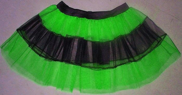 Green TUTU SKIRT PETTICOAT DANCE RAVE CYBER PUNK NEON UV