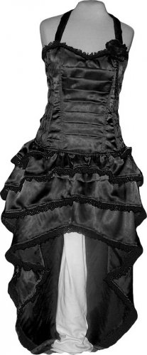 Black Corset Celebrity evening Cocktail Party Dress Bustle Gothic Lolitta Steampunk