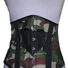 Camouflage Military Army Under Bust Corset Heart underbust steel rave cyber dance hen party clubwear