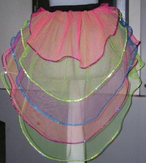 UV Neon Tutu Skirt Hot Pink Lime Blue Bustle Petticoat sequins Multi color Rainbow dance rave party