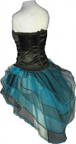 Blue Black Peacock Tutu Skirt Bustle Petticoat tone dress dance rave Cyber Punk Hen Club party