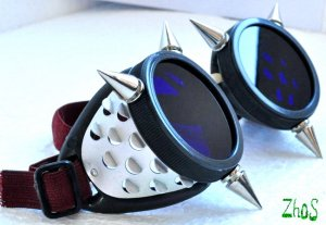 Cyber Goth Goggles 6 Spikes CyberPunk   -6