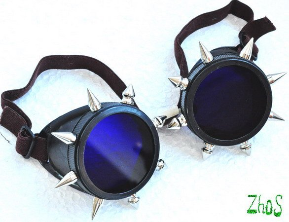 Cyber Goth Goggles Glasses 16 Spikes CyberPunk Industrial Noise Dark Wave Fantasy Mage -4