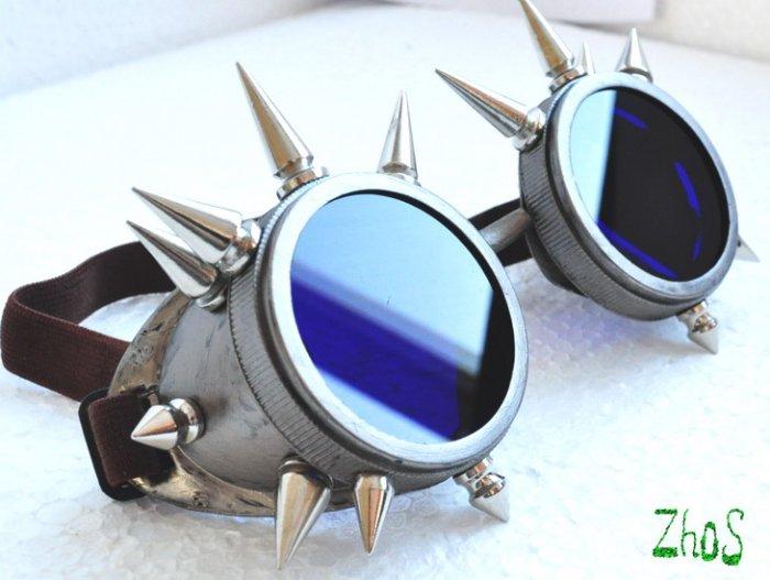 Cyber Goth Goggles Glasses 16 Spikes CyberPunk Industrial Noise Dark Wave Steampunk 4
