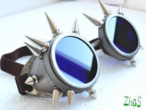 Cyber Goth Goggles Glasses 16 Spikes CyberPunk Industrial Noise Dark Wave Steampunk 4
