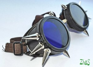 Cyber Goth Goggles Glasses 10 Spikes CyberPunk Industrial Noise Dark Wave 13