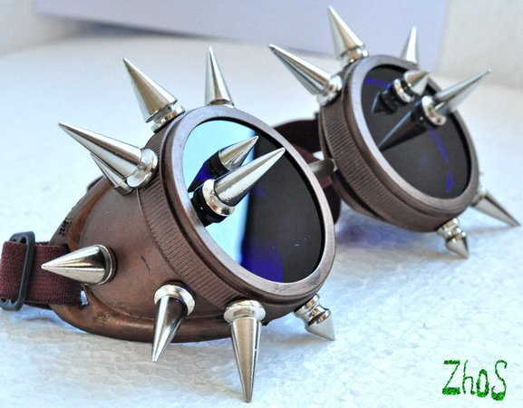 Cyber Goth Goggles Glasses 20 Spikes Punk Industrial Noise Dark Wave Steampunk Mad -5