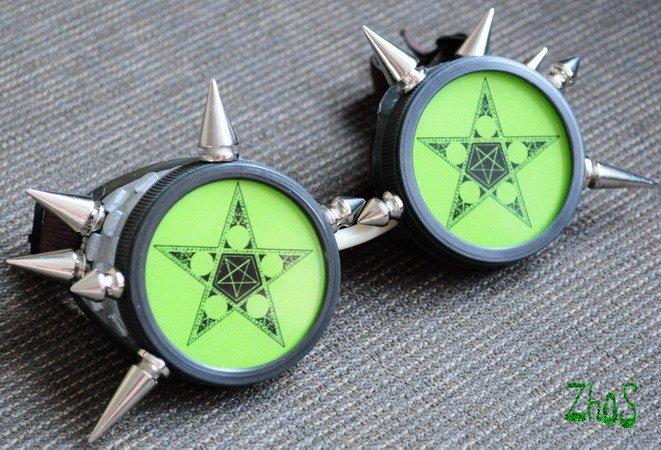 Cyber Goth Goggles Glasses 12 Spikes CyberPunk Industrial Noise Dark Wave STAR 49