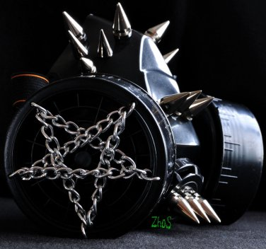 Black Cyber PVCH  Respirator Gas Mask Goth Spikes Fetish Silver Chain Pentagram