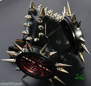 Black Pvh Gothic Mask Respirator Gas Mask Goth Spikes Fetish Cosplay Noise