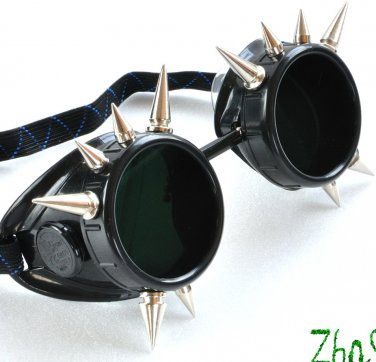 Cyber Goggles Blacks Goth Gothic Glasses Spikes Cosplay LARP Punk Burning Man